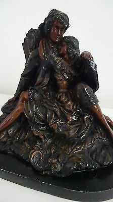 """Vintage Bronzed Spelter Figure of Lovers Embracing - 12"""" x 10"""" x 7"""""""