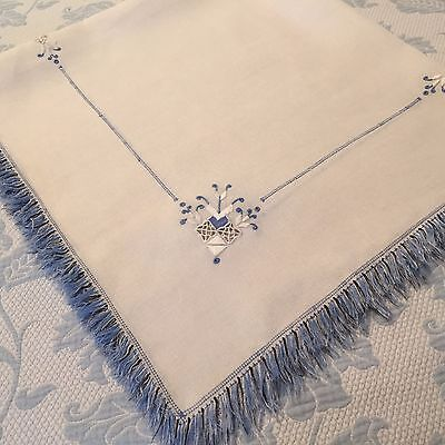 VTG White Linen Luncheon Table Cloth Thread Fringe Blue Drawn Pulled Embroidery