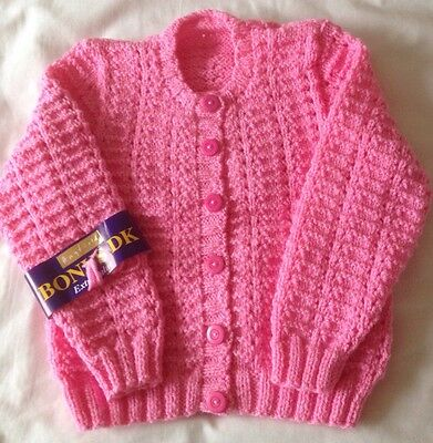 New To Fit From Approx 1-2 Years  Hand Knitted Baby Girls Pink Cardigan