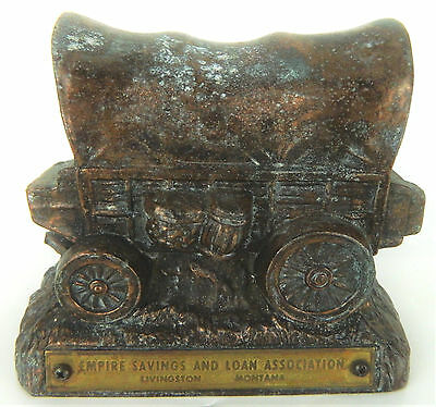 Cast Metal Empire Savings Bank & Loan Livingston Montana Vtg Covered Chuck Wagon