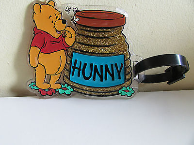 Winnie the Pooh (Really Cute) With a Golden Hunny Pot Resin Luggage Label