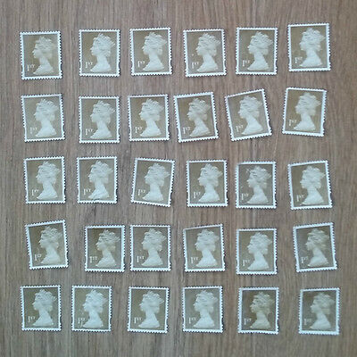 100 1st class gold stamps - WITH LIGHT FAULTS - fv £64 - off paper no gum