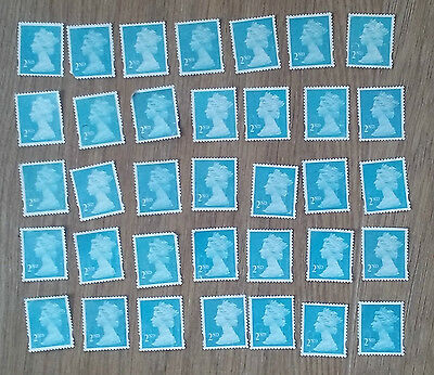 100 2nd class blue stamps- WITH LIGHT FAULTS - fv £55 - off paper no gum