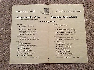 1962 Gloucestershire Colts v Gloucestershire Schools.  Rugby Union Match