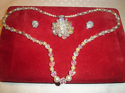 Lovely 3 piece Vintage Crystal brooch earrings and necklace set 1950s-60s