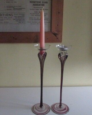 2 Tall Glass Candlesticks with a Touch of Art Nouveau in a Design of Burgundy