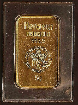 Hereaus 5 Gram Gold Bar, pure 24kt. 999 Gold. Sealed. The Genuine Article.