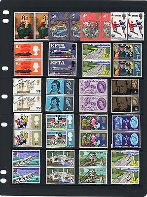 Collection of pairs of mint nbh pre-decimal commemorative QEII stamps.
