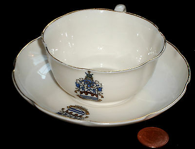 Goss Crested China Cup And Saucer Chelmsford Essex Crest Arms