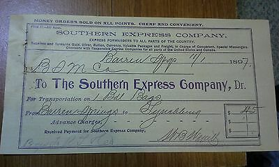 "Collectible 1897 Bill Head ""The Southern Express Company.""    Barren Springs, VA"