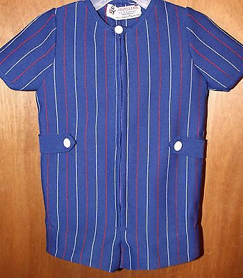 VTG 60s PICCOLINO Italy Boys 4T One Piece Outfit Romper Blue Red White Striped