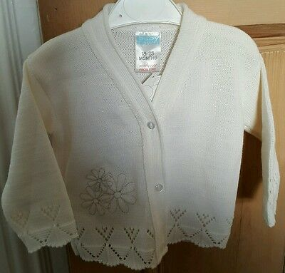 Baby Girls White Knitted Cardigan 18-23 Months BNWT