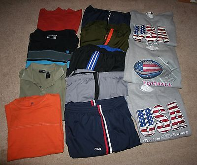 Men's Athletic Clothing Lot of 12 Pants Sweatshirts Shirts Athletic Pants Sweats