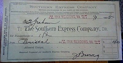 "Collectible 1905 Bill Head ""The Southern Express Company..""     Max Meadows, VA"