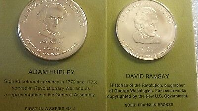 Coins (2) Franklin Mint Solid BRONZE