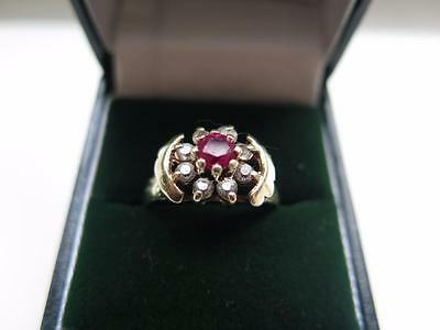 Fine Vintage 9 Ct Gold Diamond & Ruby Ring. Hallmarked . Very Nice Quality Ring.