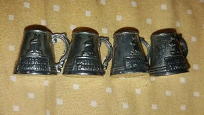 4 x VINTAGE SMALL METAL PROMOTIONAL WHITBREAD TANKARD 1960