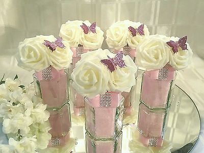 5 x Baby Pink and Ivory Hexagonal Glass Wedding Centerpieces /Table Decorations.