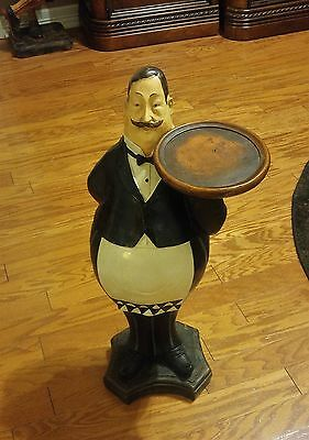 """Unique Vintage Waiter Butler Statue Holding Serving Tray - 28"""" Tall - Excellent!"""