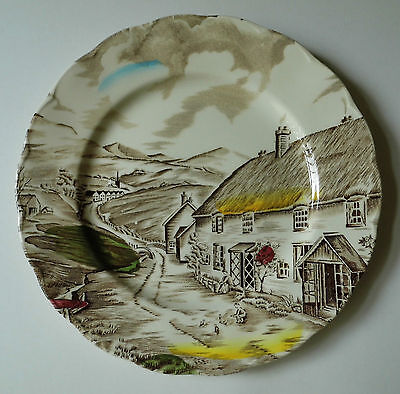 "W H Grindley Quiet Day Plate Staffordshire England 8"" Diameter"