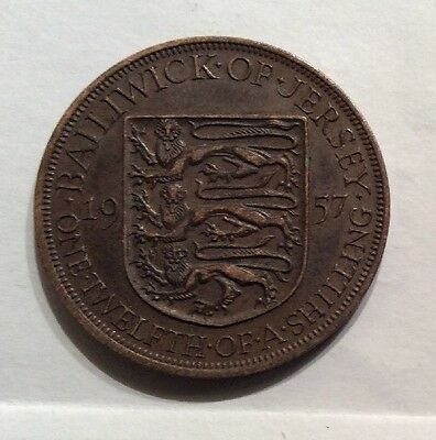Jersey 1957  Penny One Twelfth of a Shilling Very Good Condition coin