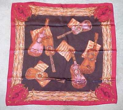 Vintage Silk Musical Design Scarf