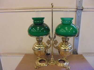 Vintage Large Double Brass Student Oil Electrified Lamp with Green Shades