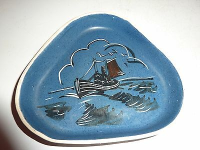 Retro British Art Pottery Triangular Shallow Dish With Trawler/sea By Lou Ahwold