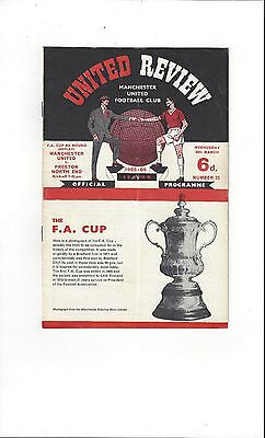 Manchester United v Preston FA Cup Replay 1965/66 Football Programme