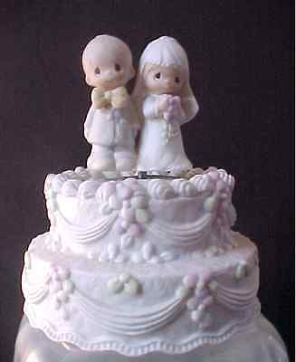 "Precious Moments ""the Lord Bless And Keep You"" Bride Groom Musical Wedding Cake"