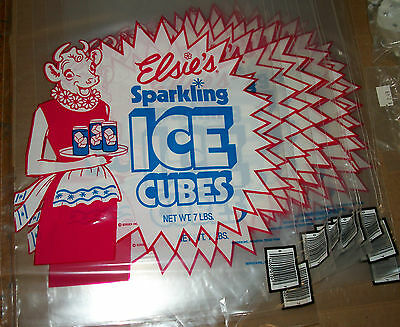 """VINTAGE Lot of 12 BORDEN ELSIE Sparkling ICE CUBE BAGS 11"""" x 20"""" NEW"""