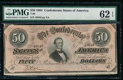 AC T-66 $50 1864 Confederate Currency CSA PMG 62 EPQ