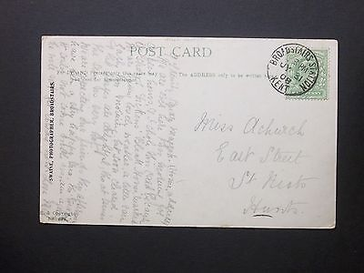 """GB Railway 1908 KEVII 1/2d """"The Harbour"""" Postcard BROADSTAIRS STATION KENT s/c"""