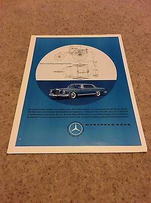 RARE MERCEDES - BENZ 1960's Advertising Page Original Large Vintage Car Advert