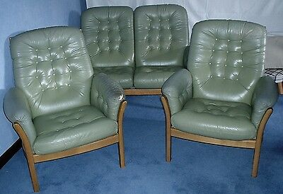 ERCOL SAVILLE LEATHER 3 Piece Suite  2 Seater Sofa 2 Armchairs Pale Green Button