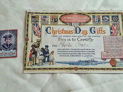 The Overseas Club Christmas Day Gifts 1915 Certificate & Jack Cornwell Ward