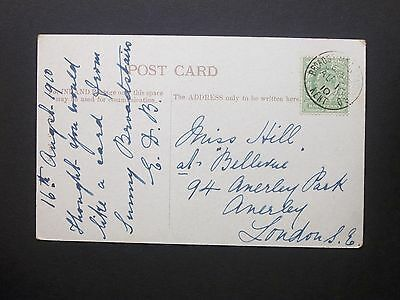"""GB Railway 1910 KEVII 1/2d """"The Sands"""" Postcard BROADSTAIRS STATION B.O KENT s/c"""
