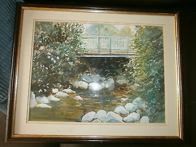Lovely Original Watercolour Painting, Bridge At Rowen, Conwy Valley, B Rogers