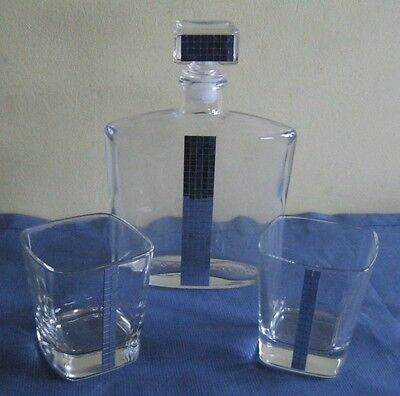 Glass Decanter and 2 Matching Glasses With a Hint of Silver Bling