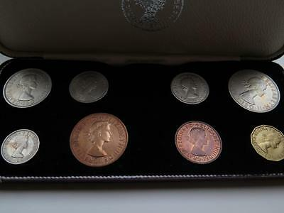 Fine Boxed Elizabeth Ii 1964 Specimen Coin Set . Proof. Red Leather Boxed