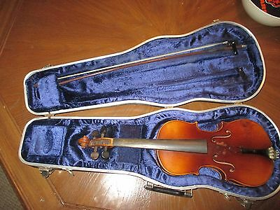 Vintage Antonius Stradivarius Copy 3/4 Violin Germany For Repair Or Parts W/case