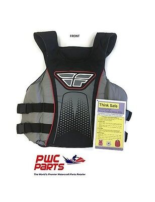 FLY RACING Flyover Nylon 2-Buckle Vest 22160570 Black / Red / Gray - Size Small