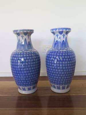 Pair of Antique Blue & White Chinese Vases