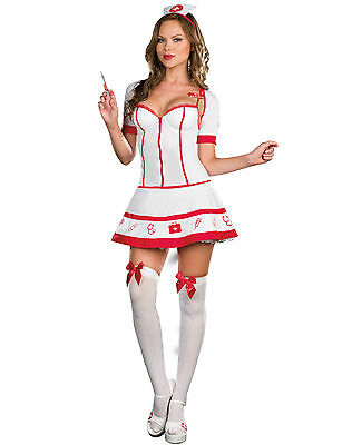 Ladies Red & White  Fancy Sexy Dress Nurse Outfit Size Medium (10-12)
