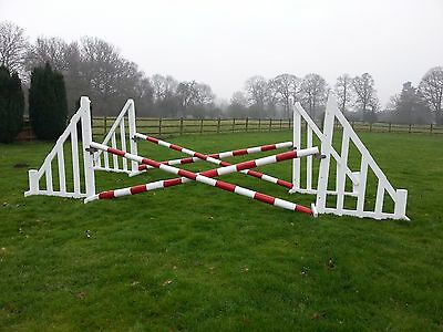 2 Pairs Of Refurbished Horse Jumps, (White), With Cups And 4 Poles (Red/white)