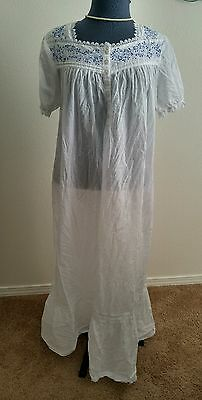White and Blue Floral Embroidered Cotton Nightgown by Marisol~Large~Light & Airy