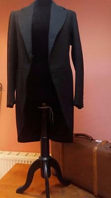 Antique Vintage Victorian Black Wool Tails Coat Wardrobe Theatre Collector