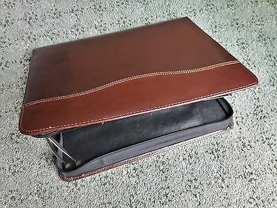 Zipped Brown Faux Leather Writing Case