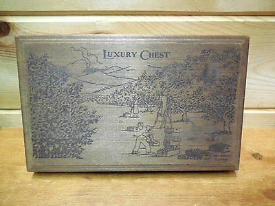 VTG wood packing box LUXURY CHEST sun-ripe fruit DOVETAILED  Encino CA havesting