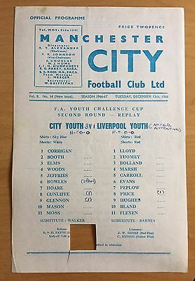1966/67 MANCHESTER CITY youth v LIVERPOOL youth : FA Youth Cup 13/12/1966